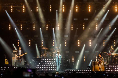 Denmark, Copenhagen - March 19, 2018. The English pop singer Harry Styles performs a live concert at Royal Arena in Copenhagen.