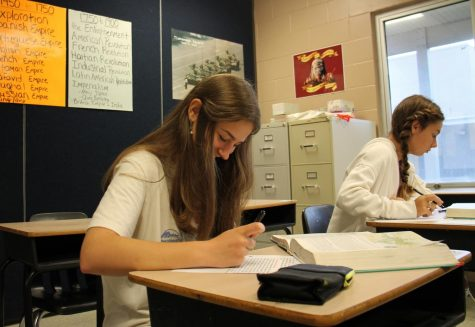 """Adriana Richardson sits in Ms. Hampton's AP World History class. Reading through the textbook, she writes down important facts about the chapter. """"I was working on my outlines for chapter nine on Islam,"""" Richardson said."""
