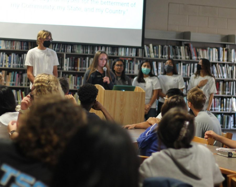 On Sept. 3 at 7:50 a.m. all members of the Leo Club recited the Leo pledge for the first time this year.