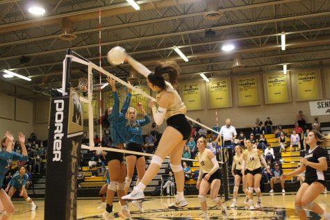 Caroline Knight (23) smacks the ball over the net for a kill against Sunlake High School.